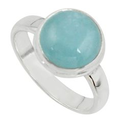 925 silver 4.80cts natural blue aquamarine solitaire ring jewelry size 7 r39797