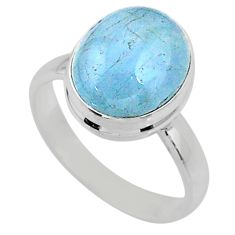 925 silver 5.03cts natural blue aquamarine solitaire ring jewelry size 7 r64640