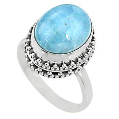 925 silver 5.11cts natural blue aquamarine solitaire ring jewelry size 7 r64707