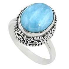 925 silver 5.06cts natural blue aquamarine solitaire ring jewelry size 7 r64710