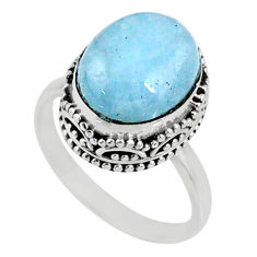 925 silver 5.13cts natural blue aquamarine solitaire ring jewelry size 7 r64718