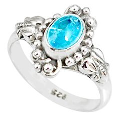 925 silver 1.54cts natural blue aquamarine solitaire handmade ring size 7 r82289