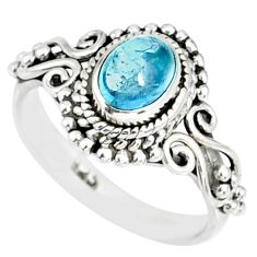 925 silver 1.48cts natural blue aquamarine solitaire ring jewelry size 7 r82360