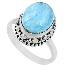 925 silver 5.13cts natural blue aquamarine solitaire ring jewelry size 8 r64696