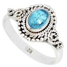 925 silver 1.49cts natural blue aquamarine solitaire handmade ring size 9 r82298
