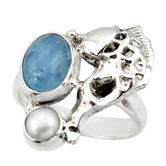 925 silver 4.38cts natural blue aquamarine white pearl fish ring size 6.5 d46058