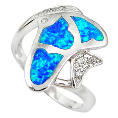 925 silver natural blue australian opal (lab) fish ring size 8.5 a61433 c15125