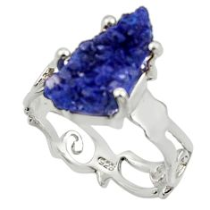 925 silver 5.54cts natural blue azurite druzy fancy solitaire ring size 7 r30013