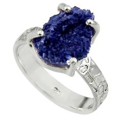 925 silver 6.04cts natural blue azurite druzy fancy solitaire ring size 8 r30009