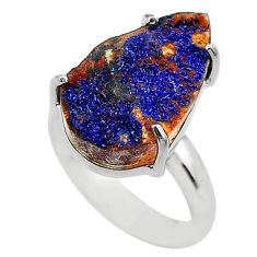 925 silver 8.92cts natural blue azurite druzy pear solitaire ring size 7 t29546