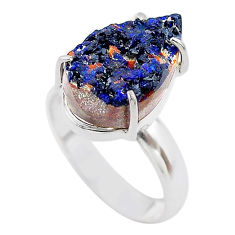 925 silver 7.89cts natural blue azurite druzy pear solitaire ring size 8 t29574