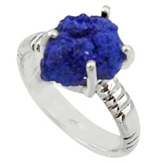 925 silver 5.54cts natural blue azurite druzy solitaire ring size 7.5 r30005