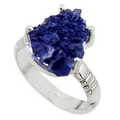 ts natural blue azurite druzy solitaire ring size 8.5 r30017