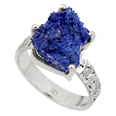 925 silver 7.35cts natural blue azurite druzy solitaire ring size 8.5 r30019