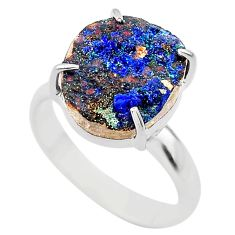 925 silver 6.54cts natural blue azurite druzy solitaire ring size 8 t29552
