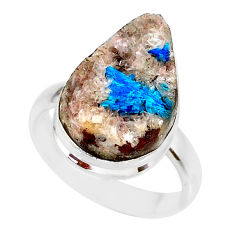 925 silver 12.07cts natural blue cavansite pear solitaire ring size 8.5 r86127