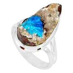 925 silver 9.85cts natural blue cavansite pear solitaire ring size 7.5 r86150
