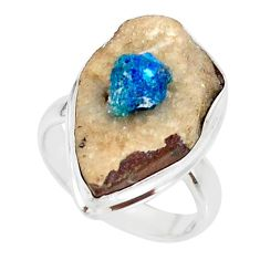 925 silver 14.72cts natural blue cavansite solitaire ring jewelry size 7 r86119