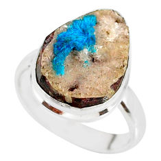 925 silver 11.23cts natural blue cavansite solitaire ring jewelry size 8 r86135