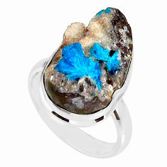 925 silver 14.40cts natural blue cavansite solitaire ring jewelry size 8 r86148