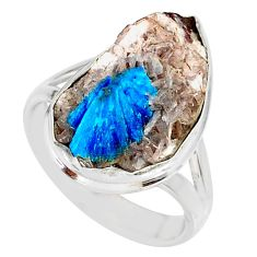 925 silver 10.78cts natural blue cavansite solitaire ring size 7.5 r86138