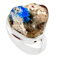 925 silver 14.65cts natural blue cavansite solitaire ring size 6.5 r86140