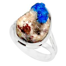 925 silver 11.23cts natural blue cavansite solitaire ring size 7.5 r86144