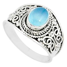 925 silver 2.22cts natural blue chalcedony oval solitaire ring size 8.5 r81484