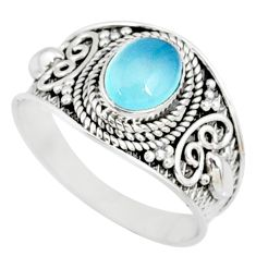 925 silver 2.14cts natural blue chalcedony solitaire handmade ring size 9 r81487