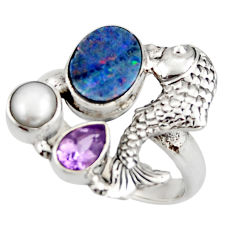 925 silver 6.48cts natural blue doublet opal australian fish ring size 8 d46033