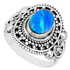 925 silver 1.94cts natural blue doublet opal australian oval ring size 8 t14534