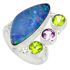 925 silver 7.51cts natural blue doublet opal australian ring size 7 r22631