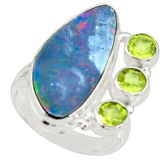 925 silver 8.42cts natural blue doublet opal australian ring size 8 r22635
