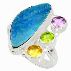 925 silver 8.27cts natural blue doublet opal australian ring size 9 r22627