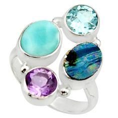 925 silver 6.58cts natural blue doublet opal australian topaz ring size 6 r22264