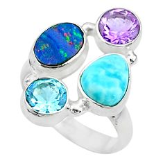 925 silver 6.83cts natural blue doublet opal australian topaz ring size 7 t10317