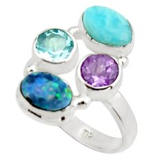 925 silver 6.59cts natural blue doublet opal australian topaz ring size 8 r22268