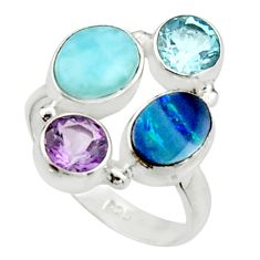 925 silver 6.83cts natural blue doublet opal australian topaz ring size 8 r22271