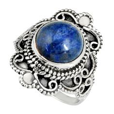 925 silver 5.56cts natural blue dumortierite round solitaire ring size 7 r19504