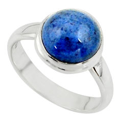925 silver 4.34cts natural blue dumortierite round solitaire ring size 7 r39809