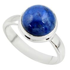 925 silver 5.24cts natural blue dumortierite round solitaire ring size 7 r39811