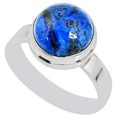 925 silver 5.14cts natural blue dumortierite round solitaire ring size 7 r64779