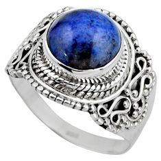 925 silver 5.28cts natural blue dumortierite round solitaire ring size 8 r53407