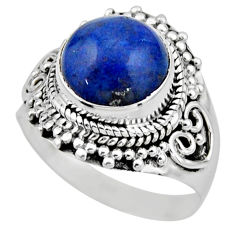 925 silver 5.63cts natural blue dumortierite round solitaire ring size 8 r53411