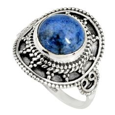925 silver 5.38cts natural blue dumortierite solitaire ring size 8.5 r19513