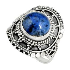 925 silver 5.38cts natural blue dumortierite solitaire ring size 7.5 r19519