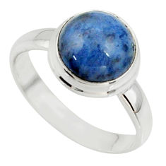 925 silver 5.23cts natural blue dumortierite solitaire ring size 7.5 r39815