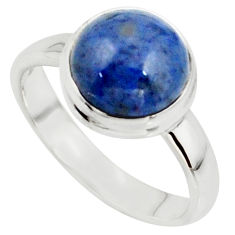 925 silver 5.23cts natural blue dumortierite solitaire ring size 7.5 r39819