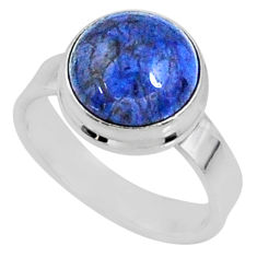 925 silver 5.23cts natural blue dumortierite solitaire ring size 5.5 r64769