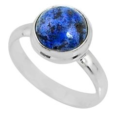925 silver 5.06cts natural blue dumortierite solitaire ring size 8.5 r64772